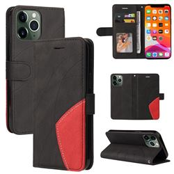 Luxury Two-color Stitching Leather Wallet Case Cover for iPhone 13 Pro Max (6.7 inch) - Black