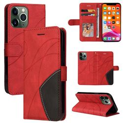 Luxury Two-color Stitching Leather Wallet Case Cover for iPhone 13 Pro Max (6.7 inch) - Red