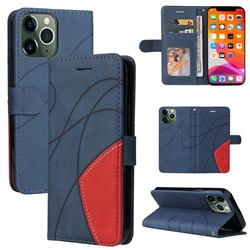 Luxury Two-color Stitching Leather Wallet Case Cover for iPhone 13 Pro Max (6.7 inch) - Blue