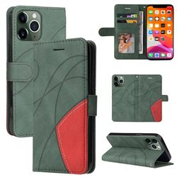 Luxury Two-color Stitching Leather Wallet Case Cover for iPhone 13 Pro Max (6.7 inch) - Green