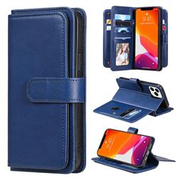 Multi-function Ten Card Slots and Photo Frame PU Leather Wallet Phone Case Cover for iPhone 13 Pro Max (6.7 inch) - Dark Blue