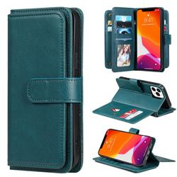 Multi-function Ten Card Slots and Photo Frame PU Leather Wallet Phone Case Cover for iPhone 13 Pro Max (6.7 inch) - Dark Green