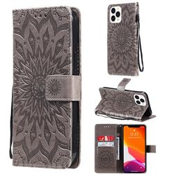 Embossing Sunflower Leather Wallet Case for iPhone 13 Pro Max (6.7 inch) - Gray