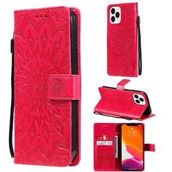 Embossing Sunflower Leather Wallet Case for iPhone 13 Pro Max (6.7 inch) - Red