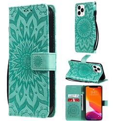 Embossing Sunflower Leather Wallet Case for iPhone 13 Pro Max (6.7 inch) - Green
