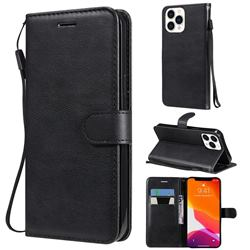 Retro Greek Classic Smooth PU Leather Wallet Phone Case for iPhone 13 Pro Max (6.7 inch) - Black
