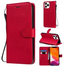 Retro Greek Classic Smooth PU Leather Wallet Phone Case for iPhone 13 Pro Max (6.7 inch) - Red
