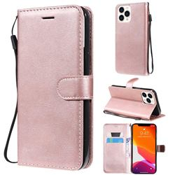 Retro Greek Classic Smooth PU Leather Wallet Phone Case for iPhone 13 Pro Max (6.7 inch) - Rose Gold