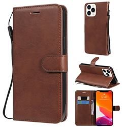 Retro Greek Classic Smooth PU Leather Wallet Phone Case for iPhone 13 Pro Max (6.7 inch) - Brown