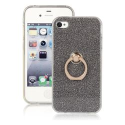 Luxury Soft TPU Glitter Back Ring Cover with 360 Rotate Finger Holder Buckle for iPhone 4s 4 - Black