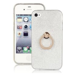 Luxury Soft TPU Glitter Back Ring Cover with 360 Rotate Finger Holder Buckle for iPhone 4s 4 - White