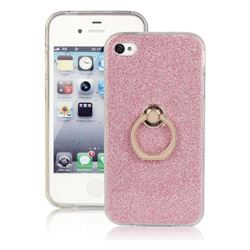 Luxury Soft TPU Glitter Back Ring Cover with 360 Rotate Finger Holder Buckle for iPhone 4s 4 - Pink