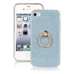 Luxury Soft TPU Glitter Back Ring Cover with 360 Rotate Finger Holder Buckle for iPhone 4s 4 - Blue