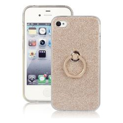 Luxury Soft TPU Glitter Back Ring Cover with 360 Rotate Finger Holder Buckle for iPhone 4s 4 - Golden