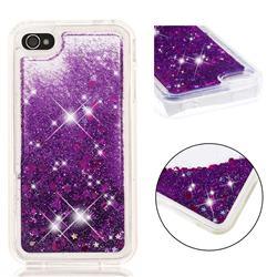 Dynamic Liquid Glitter Quicksand Sequins TPU Phone Case for iPhone 4s 4 - Purple