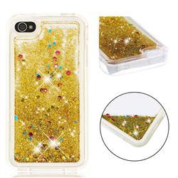 Dynamic Liquid Glitter Quicksand Sequins TPU Phone Case for iPhone 4s 4 - Golden