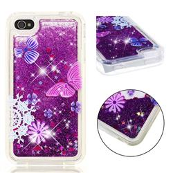 Purple Flower Butterfly Dynamic Liquid Glitter Quicksand Soft TPU Case for iPhone 4s 4