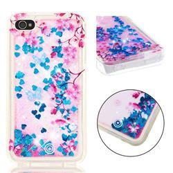 Blue Plum Blossom Dynamic Liquid Glitter Quicksand Soft TPU Case for iPhone 4s 4