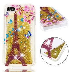 Golden Tower Dynamic Liquid Glitter Quicksand Soft TPU Case for iPhone 4s 4