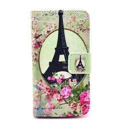 Flower Eiffel Tower Leather Wallet Case for iPhone 4s / iPhone 4
