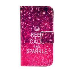 KEEP CALM AND SPARKLE Leather Wallet Case for iPhone 4s / iPhone 4
