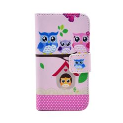Family Owls Leather Wallet Case for iPhone 4s / iPhone 4