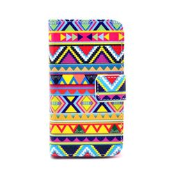 Colored Tribal Leather Wallet Case for iPhone 4s / iPhone 4