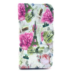 Rose Eiffel Tower Leather Wallet Case for iPhone 4s / iPhone 4