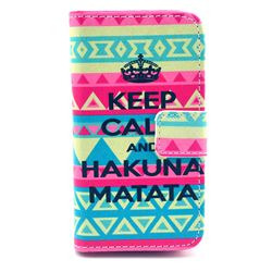 KEEP CALM AND HAKUNA MATATA Leather Wallet Case for iPhone 4s / iPhone 4