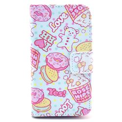 Cookie and Pop Corn Leather Wallet Case for iPhone 4s / iPhone 4