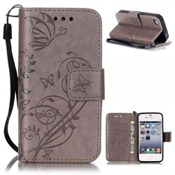 Embossing Butterfly Flower Leather Wallet Case for iPhone 4s / iPhone 4 - Grey