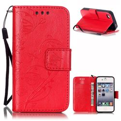 Embossing Butterfly Flower Leather Wallet Case for iPhone 4s / iPhone 4 - Red