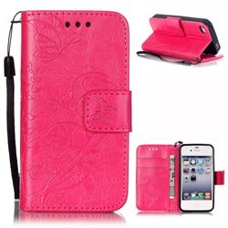 Embossing Butterfly Flower Leather Wallet Case for iPhone 4s / iPhone 4 - Rose