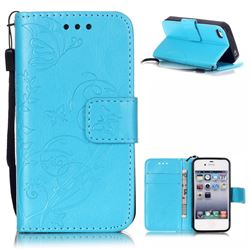 Embossing Butterfly Flower Leather Wallet Case for iPhone 4s / iPhone 4 - Blue