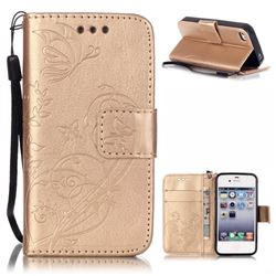Embossing Butterfly Flower Leather Wallet Case for iPhone 4s / iPhone 4 - Champagne