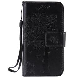 Embossing Butterfly Tree Leather Wallet Case for iPhone 4s 4 - Black