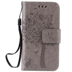 Embossing Butterfly Tree Leather Wallet Case for iPhone 4s 4 - Grey