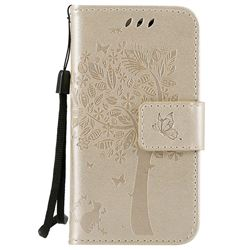 Embossing Butterfly Tree Leather Wallet Case for iPhone 4s 4 - Champagne
