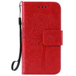 Embossing Butterfly Tree Leather Wallet Case for iPhone 4s 4 - Red