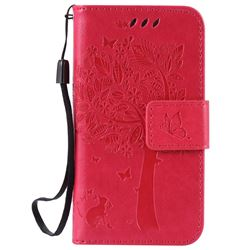 Embossing Butterfly Tree Leather Wallet Case for iPhone 4s 4 - Rose
