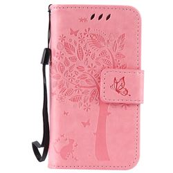 Embossing Butterfly Tree Leather Wallet Case for iPhone 4s 4 - Pink