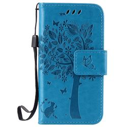 Embossing Butterfly Tree Leather Wallet Case for iPhone 4s 4 - Blue