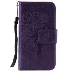Embossing Butterfly Tree Leather Wallet Case for iPhone 4s 4 - Purple