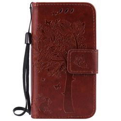 Embossing Butterfly Tree Leather Wallet Case for iPhone 4s 4 - Brown