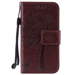 Embossing Butterfly Tree Leather Wallet Case for iPhone 4s 4 - Coffee