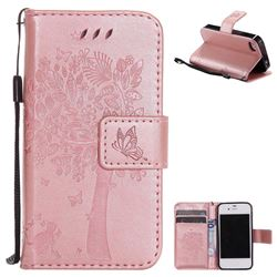 Embossing Butterfly Tree Leather Wallet Case for iPhone 4s 4 - Rose Pink