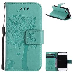Embossing Butterfly Tree Leather Wallet Case for iPhone 4s 4 - Cyan