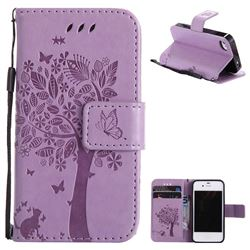 Embossing Butterfly Tree Leather Wallet Case for iPhone 4s 4 - Violet