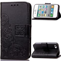Embossing Imprint Four-Leaf Clover Leather Wallet Case for iPhone 4s 4 - Black