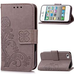 Embossing Imprint Four-Leaf Clover Leather Wallet Case for iPhone 4s 4 - Gray